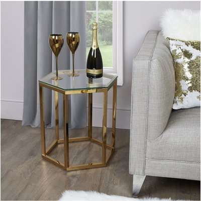 Deco Home Fleur Hexagon Gold Metal End Side Table With Toughened Clear Glass Top