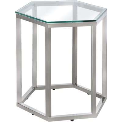 Deco Home Fleur Hexagon Silver Stainless Steel End Side Table