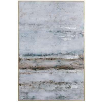 Hill Large Abstract Grey Glass Image With Silver Frame
