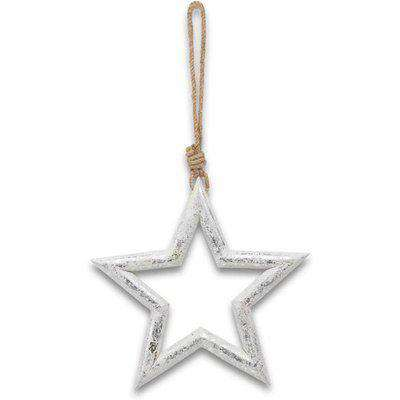 Hill Silver Wooden Star Hanging Decoration / Silver / Large