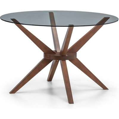 Julian Bowen Chelsea Glass Dining Table / Walnut / Round, Small