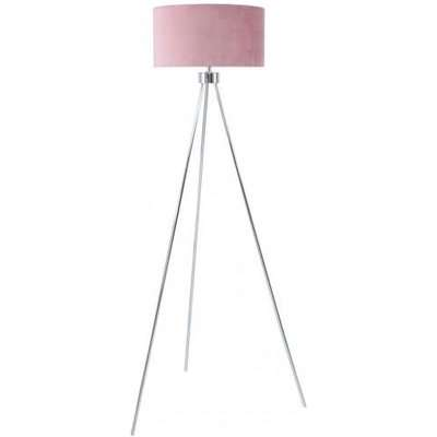 Deco Home Large 159cm Chrome Tripod Floor Lamp With Pink Velvet Shade