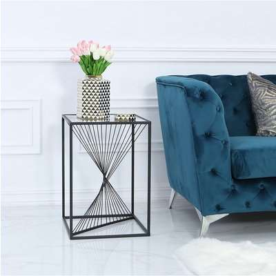 Deco Home Ava Black Metal And Clear Glass Side End Table With Unique Design