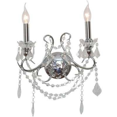 Maison Reproductions Cut Glass Chandelier Wall Light / Chrome / 2 Branch