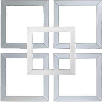 Deco Home Manhattan 90x90 Geo Mirror Wall Art Grey Clear