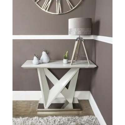 Deco Home Blanche Marble Effect Console Table With A Chrome Foundation
