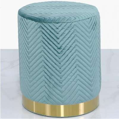 Deco Home Mint Green Patterned Velvet And Gold Metal Round Footstool Ottoman / Gold