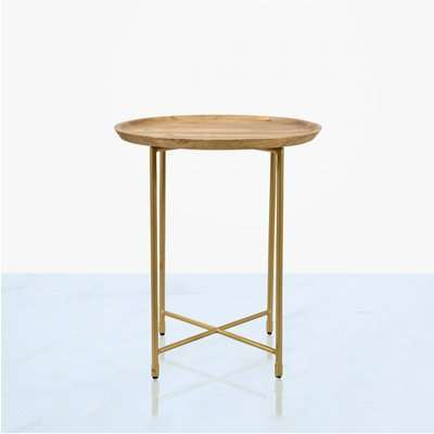 Deco Home Mira Natural Wood And Gold End Table