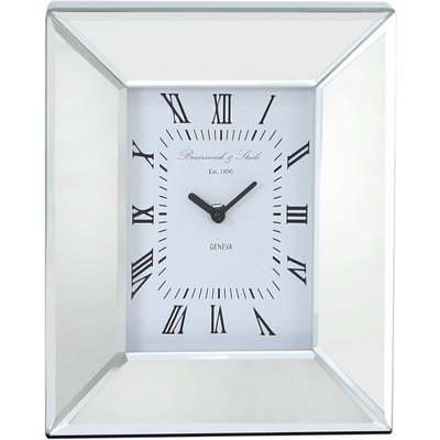 Deco Home Mirrored Box Table Mantle Clock With A Cube Design