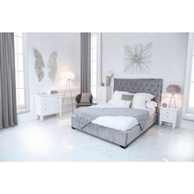 Deco Home Monaco Grey Linen King Size Bed Frame