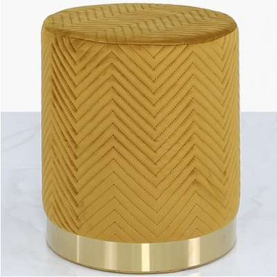 Deco Home Mustard Yellow Patterned Velvet And Gold Metal Round Footstool Ottoman / Gold