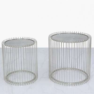 Deco Home Nest Of 2 Myla Metal End Tables Silver With Antique Mirror Top