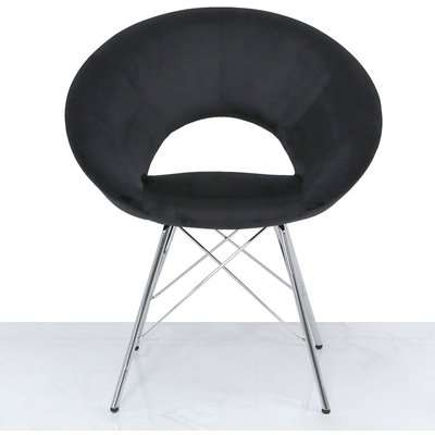 Orb Chrome And Black Velvet Chair | Outlet