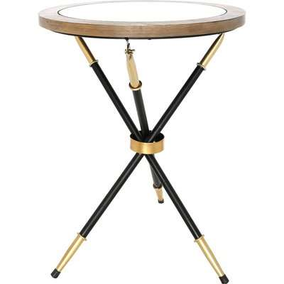 Deco Home Byron End Table With A Black And Gold Frame And Wood And Glass Top