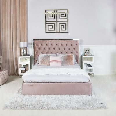 Deco Home Rose Pink King Size Bed With Chrome Frame And Velvet Style Upholstery