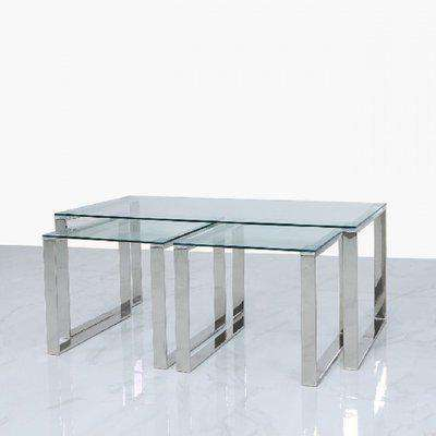 Deco Home Harper Steel And Clear Glass Coffee Table And 2 End Tables