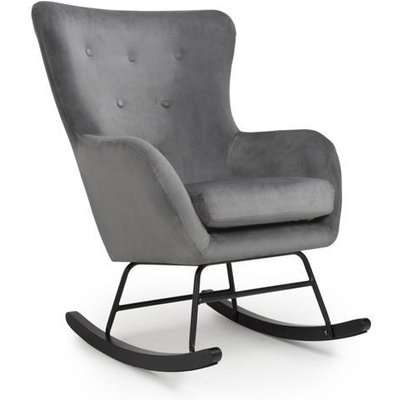 Shankar Alpine Brushed Velvet Grey Rocking Chair