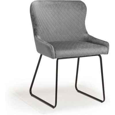 Shankar Galway Brushed Velvet Grey Dining Chair (2pk)