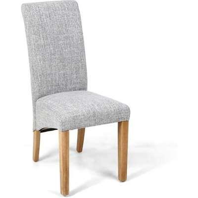 Shankar Karta Scroll Back Flax Effect Grey Weave Dining Chair (2pk)