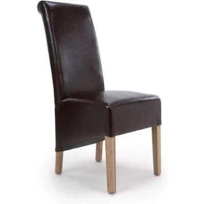 Shankar Krista Roll Back Bonded Leather Brown Dining Chair (2pk)