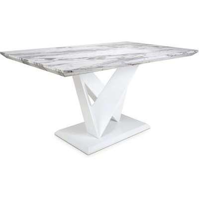 Shankar Saturn Medium Marble Effect Top Dining Table   Outlet