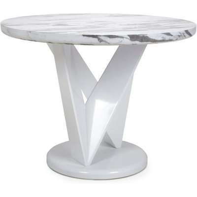 Shankar Saturn Round Marble Effect Top Dining Table