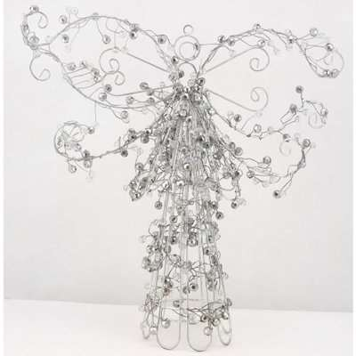 Deco Home Silver Beaded Table Top Angel Christmas Decoration