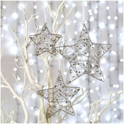 Deco Home Small Silver Wire Star Christmas Tree Decoration