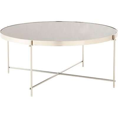 Teddy's Collection Axel Grey Mirror Brushed Nickel Coffee Table