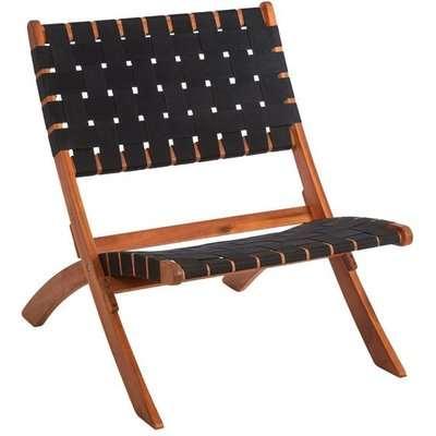 Teddy's Collection Ellis Folding Woven Acacia Black Dining Chair