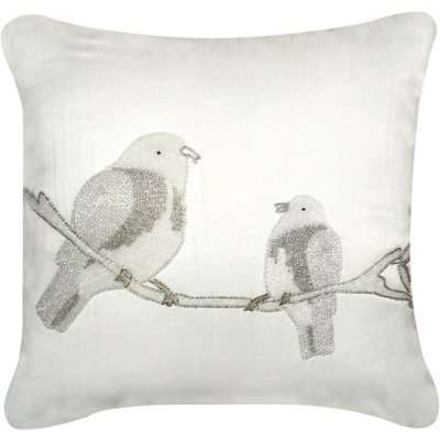 Deco Home Unfilled Birds Cushion Cover Ivory