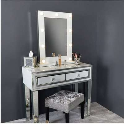 Deco Home Madison White Vanity Mirrored Mirror With 9 Dimmable LED Light Bulbs