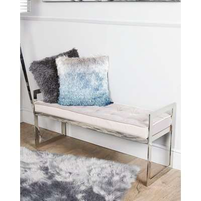 Deco Home Zenn Contemporary Stainless Steel Bench With Grey Padded Tufted Seat