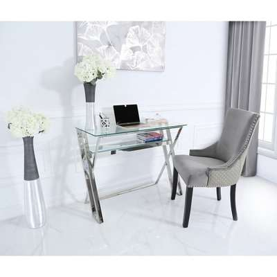 Deco Home Zenn Stainless Steel Office Desk With A Clear Tempered Glass Top