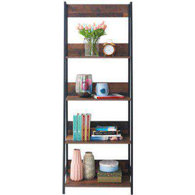 Abbey Ladder Bookcase With Four Shelves - Rustic OAk