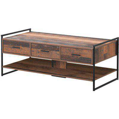 Abbey Coffee Table With Three Drawers - Rustic Oak