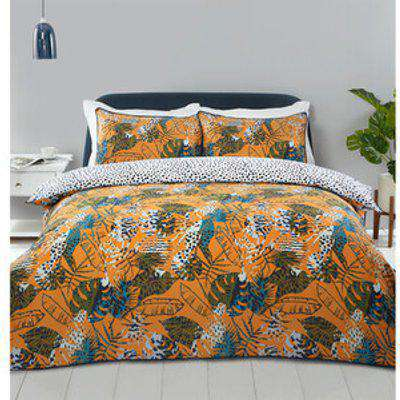 Abstract Tropical Leaf Duvet Cover and Pillowcase Set - Single