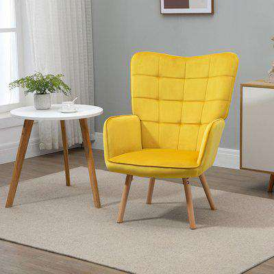 Accent Chair Wingback Armchair with Wood Legs - Yellow
