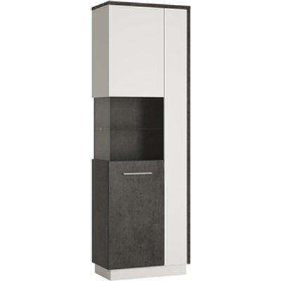 Alabana Tall Display Cabinet  - Slate Grey and White / Right hand Configuration