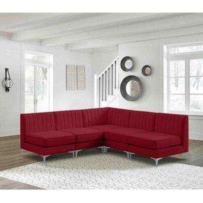 Albert Modular Corner Sofa in Velour Velvet Fabric - Red