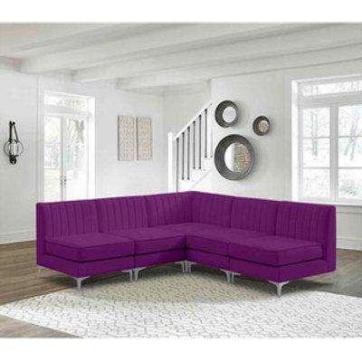 Albert Modular Corner Sofa in Velour Velvet Fabric - Boysenberry
