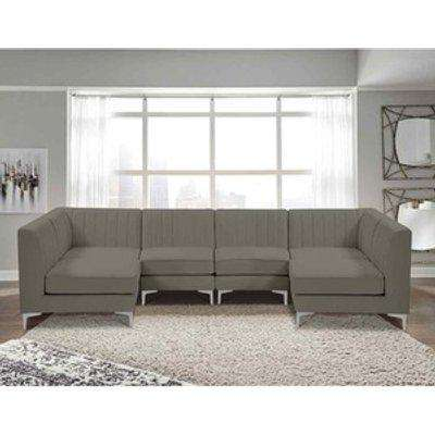 Elena Modular Corner U Shape Sofa in Velour Fabric - Putty