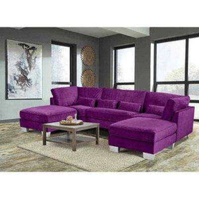 Almora Full Back Corner U Shape Sofa Velour Fabric with 2 Footstools - Boysenberry