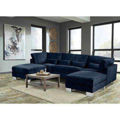 Almora Full Back Corner U Shape Sofa Velour Fabric with 2 Footstools - Navy