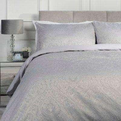 Amara Jacquard Duvet Cover and Pillowcase Set - Silver / Double