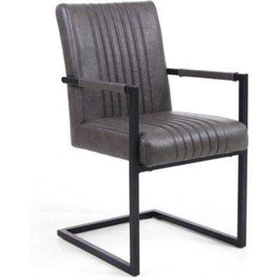 Ananya Grey Leather Armrests Carver Dining Chair Set of 2 - Grey