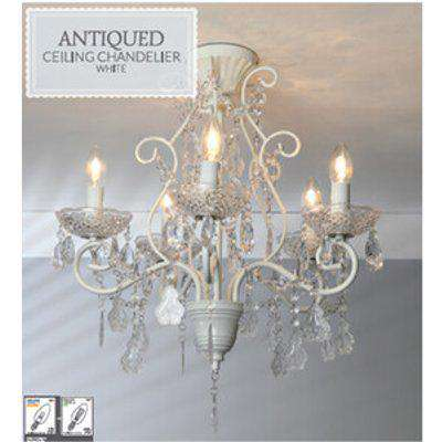 Antiqued White Ceiling Chandelier
