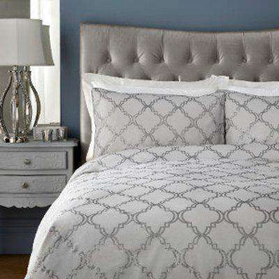 Arielle 200 Thread Count Duvet Cover and Pillowcase Set - Grey / Super King