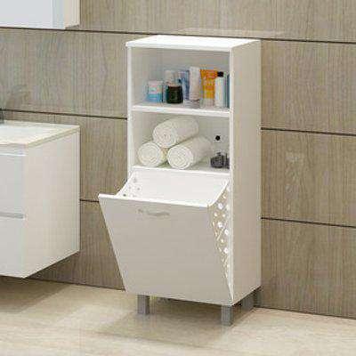 Arturo Bathroom Cabinet With Laundry Basket - White - White