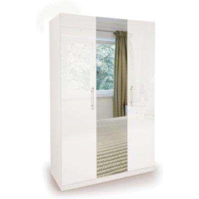 Ashburton Three Door Wardrobe with Mirror - White / Gloss White